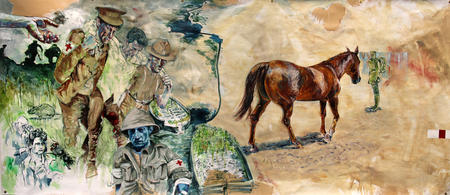 Panel 1: Evacuation of the wounded from Gallipoli. Being reunited with his horse in the desert  | SOLD